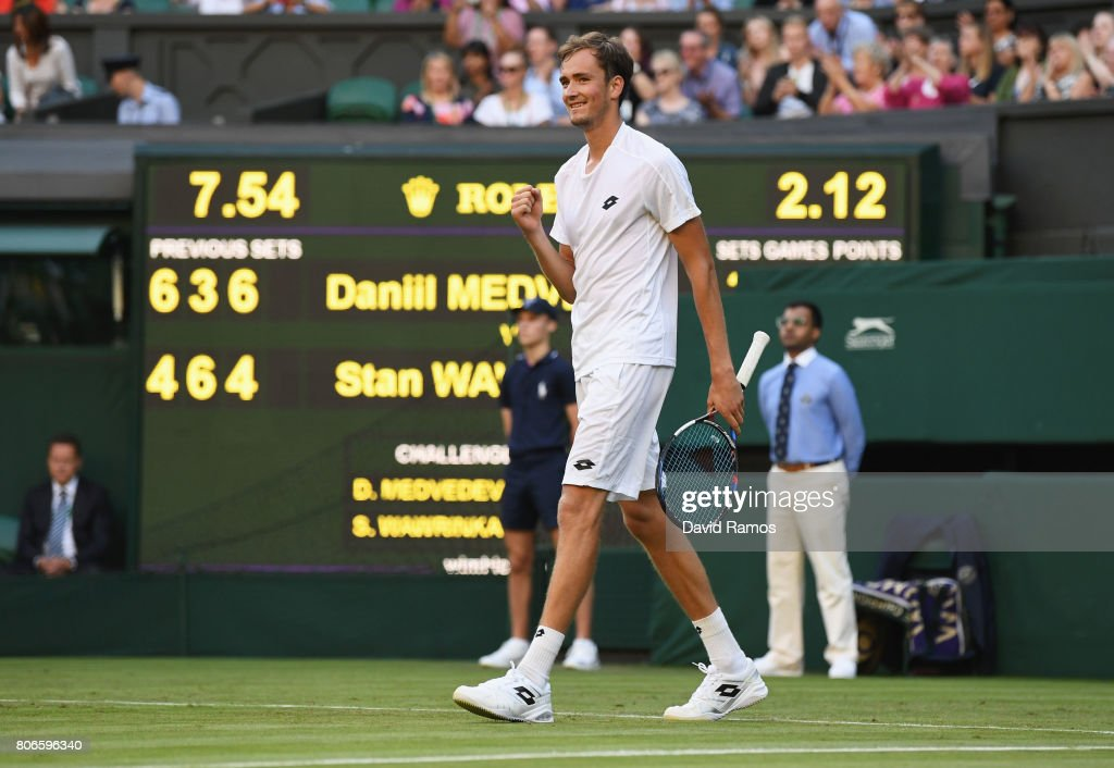 Daniil Medvedev of Russia celebrates victory after the Gentlemen's Singles first round match against Stan Wawrinka of Switzerland on day one of the Wimbledon Lawn Tennis Championships at the All England Lawn Tennis and Croquet Club on July 3, 2017 in London, England.