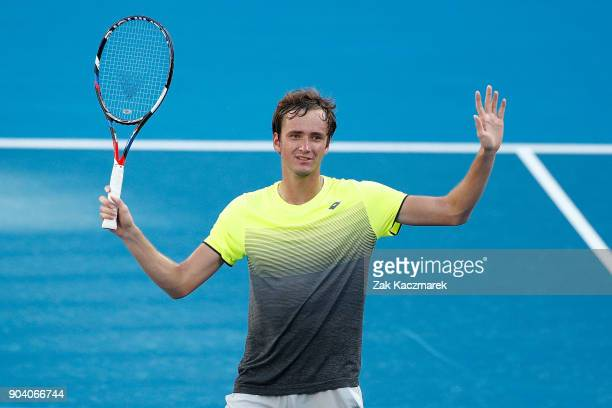 Daniil Medvedev of Russia celebrates victory against Fabio Fognini of Italy during day six of the 2018 Sydney International at Sydney Olympic Park...