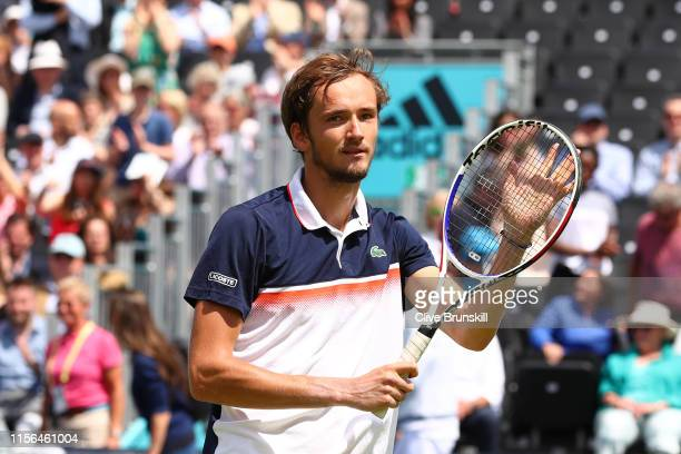 Daniil Medvedev of Russia celebrates victory following his First Round Singles Match against Fernando Verdasco of Spain during Day One of the...
