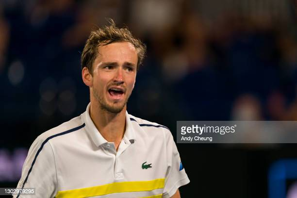 Daniil Medvedev of Russia celebrates winning a game in his Men's Singles Semifinals match against Stefanos Tsitsipas of Greece during day 12 of the...