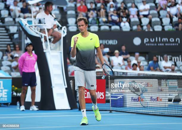 Daniil Medvedev of Russia celebrates winning a point in his semi final match against Fabio Fognini of Italy during day six of the 2018 Sydney...