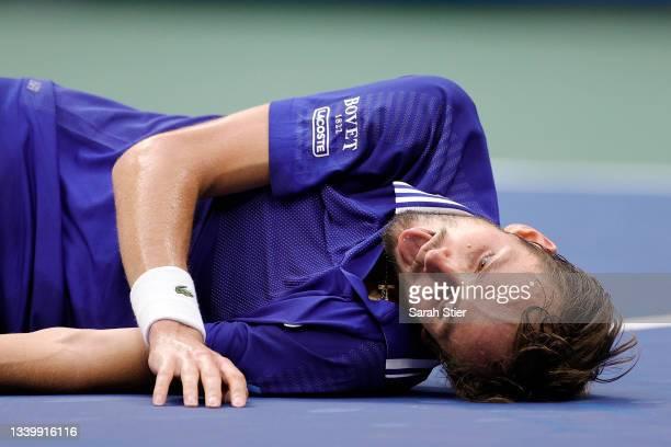 Daniil Medvedev of Russia celebrates winning championship point to defeat Novak Djokovic of Serbia during their Men's Singles final match on Day...