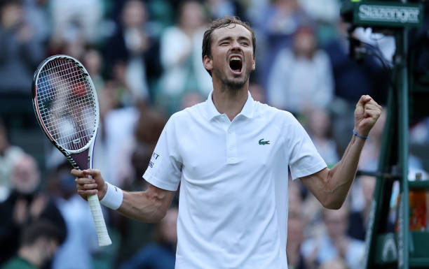Daniil Medvedev of Russia celebrates winning his men's singles third round match against Marin Cilic of Croatia during Day Six of The Championships -...