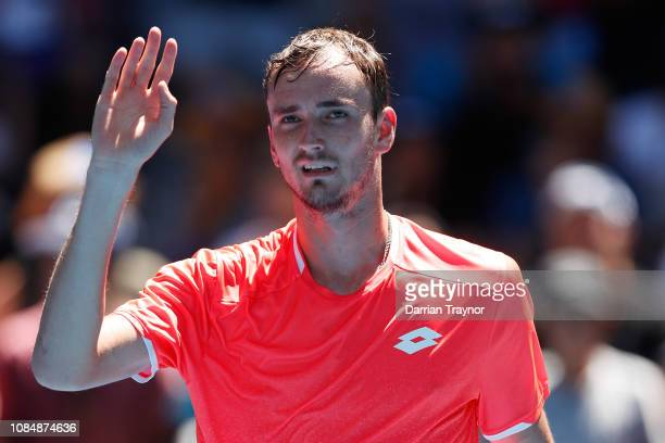 Daniil Medvedev of Russia celebrates winning his third round match against David Goffin of Belgium during day six of the 2019 Australian Open at...