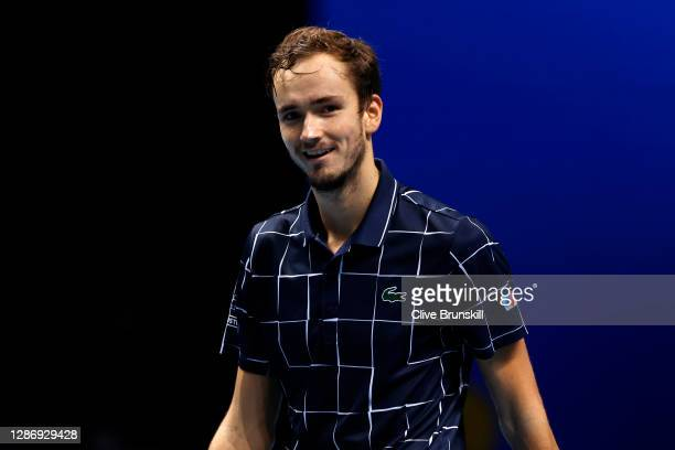 Daniil Medvedev of Russia celebrates winning match point during his singles semi final match against Rafael Nadal of Spain during day seven of the...