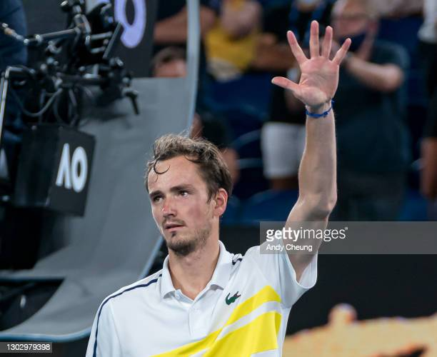 Daniil Medvedev of Russia celebrates winning match point in his Men's Singles Semifinals match against Stefanos Tsitsipas of Greece during day 12 of...