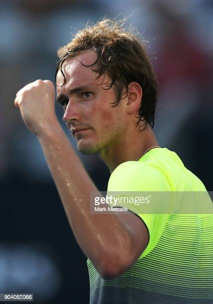 Daniil Medvedev of Russia celebrates winning match point in his semi final match against Fabio Fognini of Italy during day six of the 2018 Sydney...
