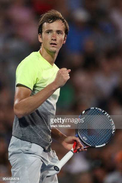 Daniil Medvedev of Russia celebrates winning set point in his Men's Singles Final match against Alex de Minaur of Australia during day seven of the...