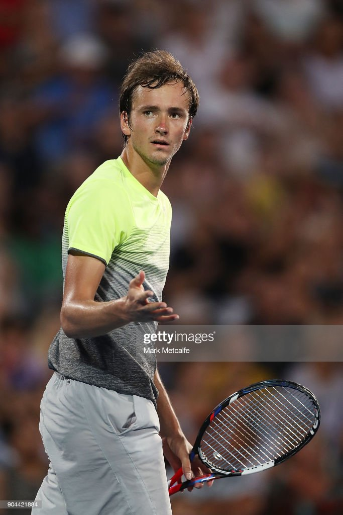 Daniil Medvedev of Russia celebrates winning set point in his Men's Singles Final match against Alex de Minaur of Australia during day seven of the 2018 Sydney International at Sydney Olympic Park Tennis Centre on January 13, 2018 in Sydney, Australia.