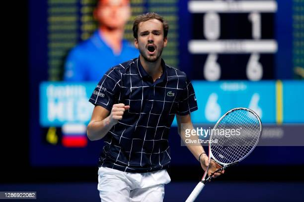 Daniil Medvedev of Russia celebrates winning the 2nd set during his singles semi final match against Rafael Nadal of Spain during day seven of the...