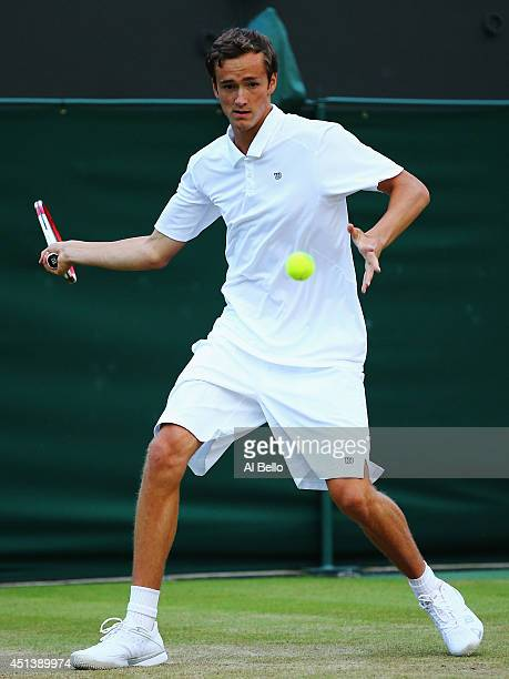 Daniil Medvedev of Russia during his Boy's Singles first round match against Petar Conkic of Serbia on day six of the Wimbledon Lawn Tennis...