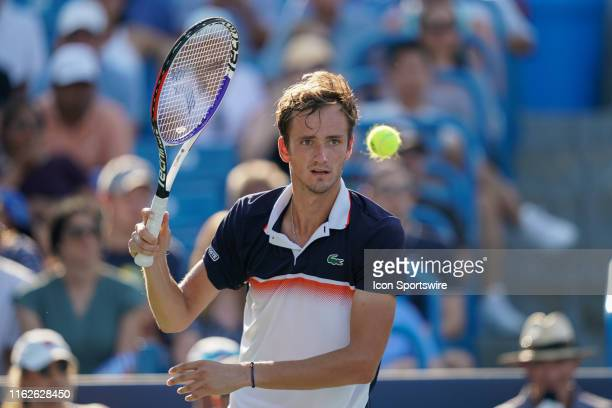 Daniil Medvedev of Russia focuses on the ball during the final match of the Western & Southern Open at Lindner Family Tennis Center on August 18,...