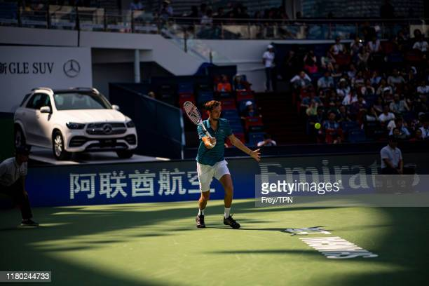 Daniil Medvedev of Russia hits a forehand against Vasek Pospisil of Canada in the Rolex Shanghai Masters at the Qi Zhong Tennis Centre on October 10...