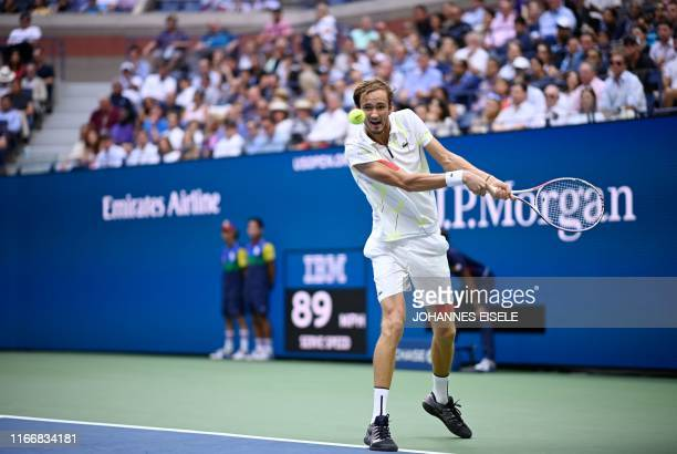 Daniil Medvedev of Russia hits a return to Rafael Nadal of Spain during their men's Singles Finals match at the 2019 US Open at the USTA Billie Jean...