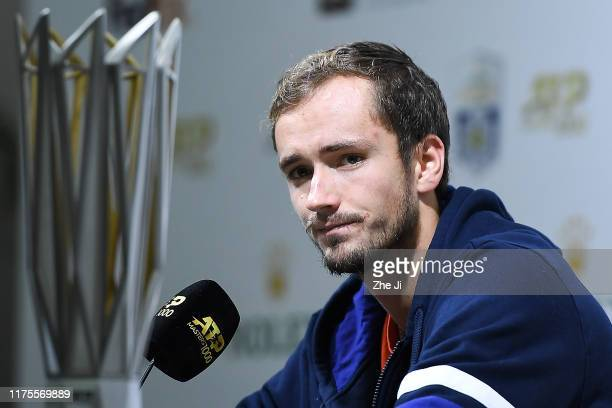 Daniil Medvedev of Russia holds a press conference at the Rolex Shanghai Masters at the Qi Zhong Tennis Centre on October 13 2019 in Shanghai China