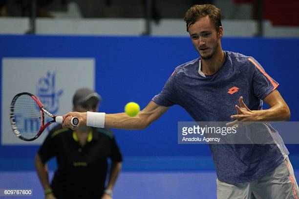 Daniil Medvedev of Russia in action against Alexander Zverev of Germany during the men's singles match of SaintPetersburg Open 2016 International...