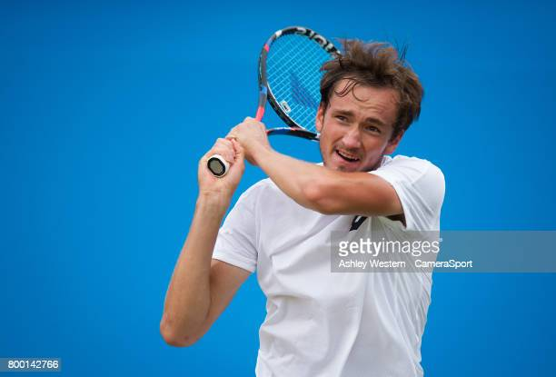 Daniil Medvedev of Russia in action against Grigor Dimitrov of Bulgaria in their MenÄôs Singles Quarter Final Match during Day 5 of the Aegon...
