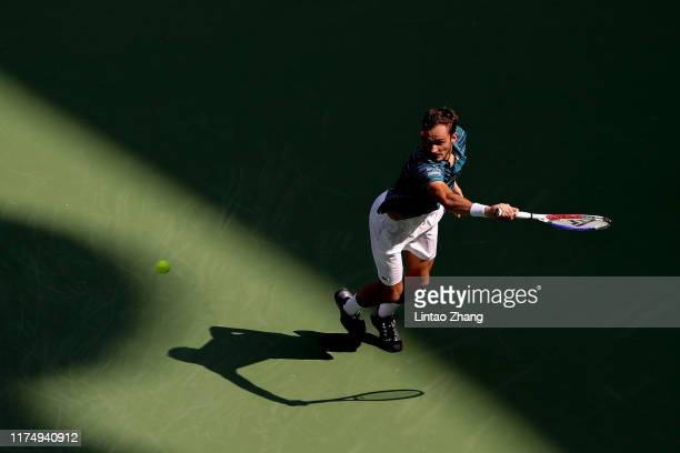 Daniil Medvedev of Russia in action against Vasek Pospisil of Canada on day six of 2019 Rolex Shanghai Masters at Qi Zhong Tennis Centre on October...