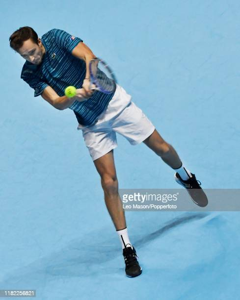 Daniil Medvedev of Russia in action during his singles match against Rafael Nadal of Spain on Day Four of the Nitto ATP Finals at The O2 Arena on...