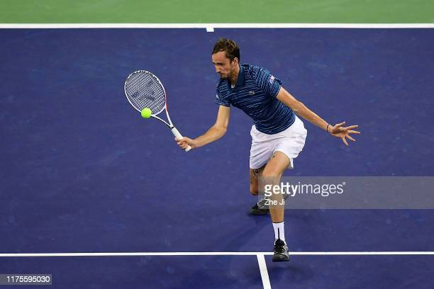 Daniil Medvedev of Russia in action during the Men's Singles final match against Alexander Zverev of Germany on day nine of 2019 Shanghai Rolex...