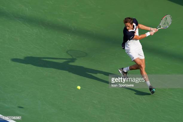 Daniil Medvedev of Russia in action during the semifinal round of the Western & Southern Open at Lindner Family Tennis Center on August 17, 2019 in...