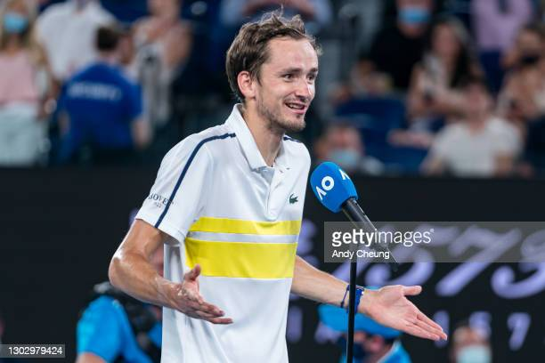 Daniil Medvedev of Russia is interviewed after winning his Men's Singles Semifinals match against Stefanos Tsitsipas of Greece during day 12 of the...