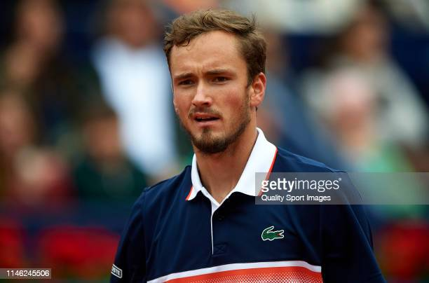 Daniil Medvedev of Russia looks on during his Men's round of final match against Dominic Thiem of Austria on day seven of the Barcelona Open Banc...