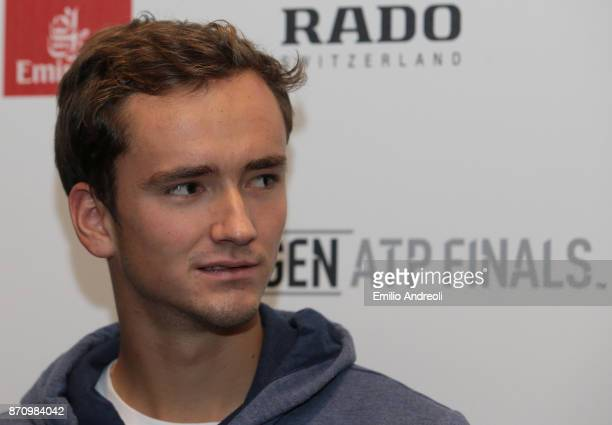 Daniil Medvedev of Russia looks on during the Next Gen ATP Finals Media Day on November 6 2017 in Milan Italy