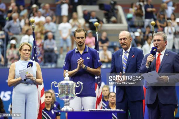 Daniil Medvedev of Russia looks on during the trophy ceremony after defeating Novak Djokovic of Serbia during their Men's Singles final match on Day...