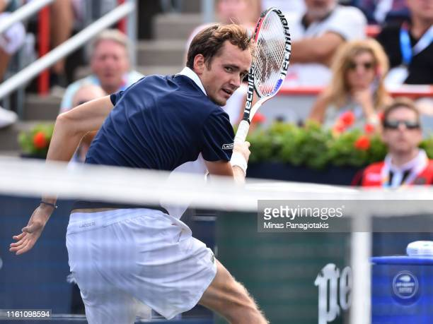 Daniil Medvedev of Russia looks over the net after a return ball against Rafael Nadal of Spain during the mens singles final on day 10 of the Rogers...