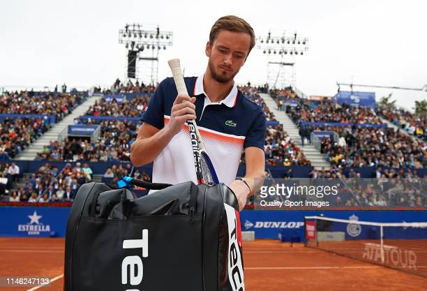 Daniil Medvedev of Russia packs his bag during his Men's round of final match against Dominic Thiem of Austria on day seven of the Barcelona Open...