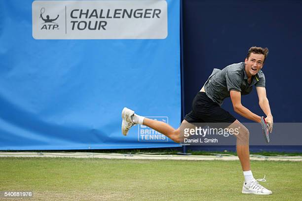 Daniil Medvedev of Russia plays a backhand during his mens singles match against Ryan Harrison of USA during the Aegon Ilkley Trophy at Ilkley Lawn...