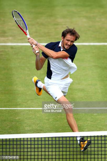 Daniil Medvedev of Russia plays a backhand during his Quarter-Final Singles Match against Diego Schwartzman of Argentina during day Five of the...