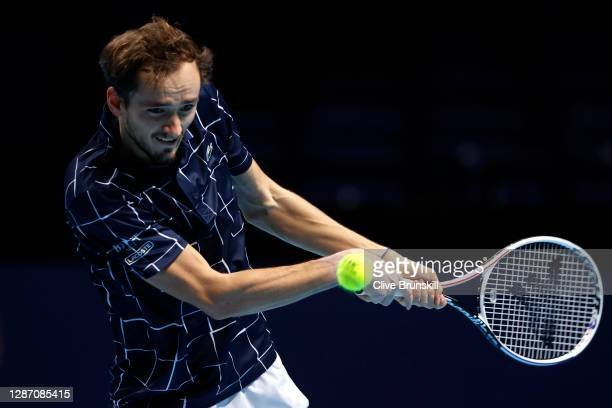 Daniil Medvedev of Russia plays a backhand during his singles final match against Dominic Thiem of Austria during day eight of the Nitto ATP World...