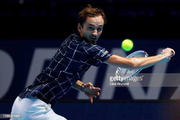 Daniil Medvedev of Russia plays a backhand during his singles match against Alexander Zverev of Germany during day two of the Nitto ATP World Tour...