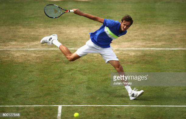Daniil Medvedev of Russia plays a backhand during the mens singles quarter final match against Grigor Dimitrov of Bulgaria on day five of the 2017...