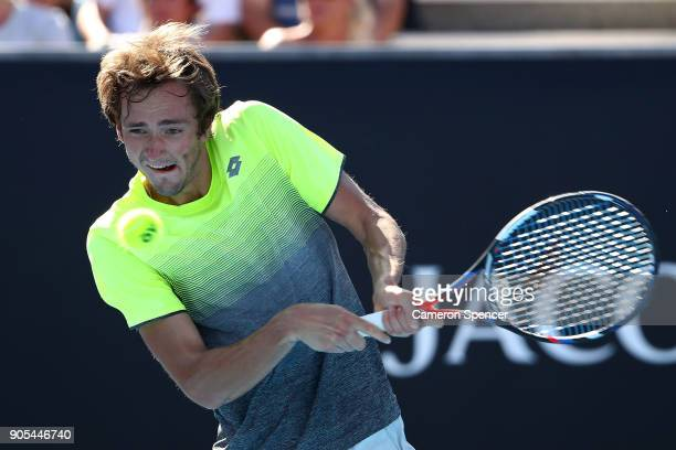 Daniil Medvedev of Russia plays a backhand in his first round match against Thanasi Kokkinakis of Australia on day two of the 2018 Australian Open at...