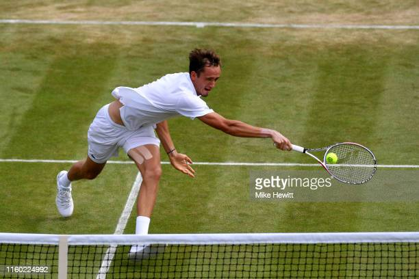 Daniil Medvedev of Russia plays a backhand in his in his Men's Singles third round match against David Goffin of Belgium during Day five of The...