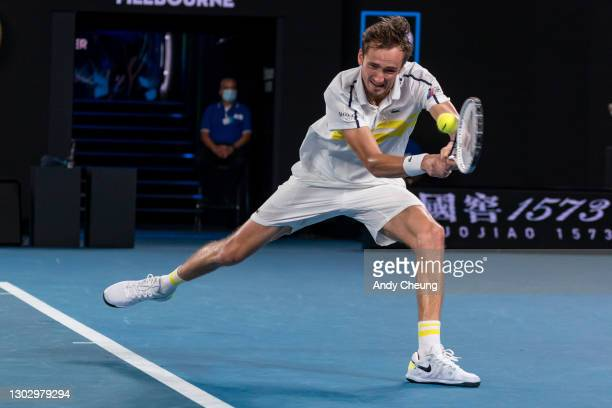 Daniil Medvedev of Russia plays a backhand in his Men's Singles Semifinals match against Stefanos Tsitsipas of Greece during day 12 of the 2021...