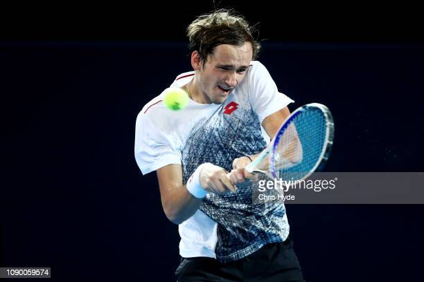 Daniil Medvedev of Russia plays a backhand in his semi final match aaginst JoWilfried Tsonga of France during the 2019 Brisbane International at Pat...