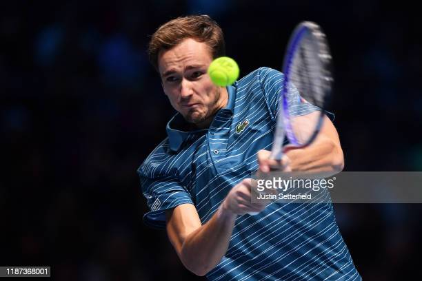 Daniil Medvedev of Russia plays a backhand in his singles match against Rafael Nadal of Spain during Day Four of the Nitto ATP Finals at The O2 Arena...