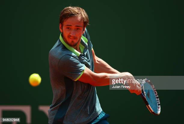 Daniil Medvedev of Russia plays a backhand return during his Mens Singles match against Kei Nishikori of Japan at MonteCarlo Sporting Club on April...