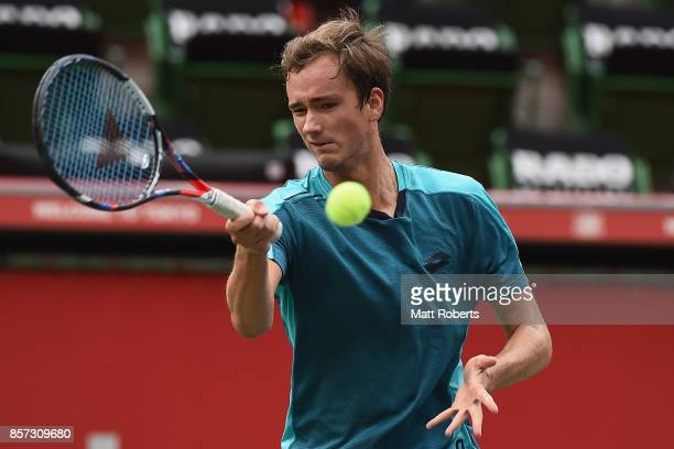 Daniil Medvedev of Russia plays a forehand against Alexandr Dolgopolov of Ukraine during day three of the Rakuten Open at Ariake Coliseum on October...