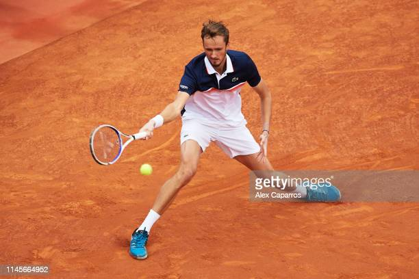 Daniil Medvedev of Russia plays a forehand against Dominic Thiem of Austria during the final match during day seven of the Barcelona Open Banc...