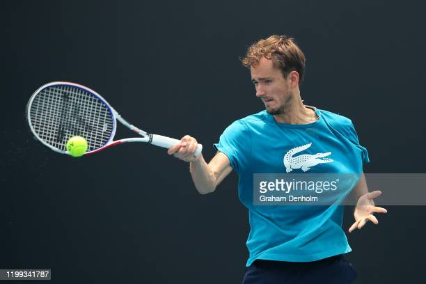 Daniil Medvedev of Russia plays a forehand during a practice session ahead of the 2020 Australian Open at Melbourne Park on January 14 2020 in...