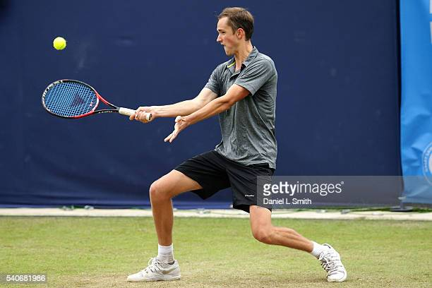 Daniil Medvedev of Russia plays a forehand during his mens singles match against Ryan Harrison of USA during the Aegon Ilkley Trophy at Ilkley Lawn...