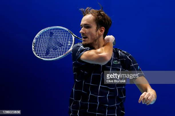 Daniil Medvedev of Russia plays a forehand during his singles match against Alexander Zverev of Germany during day two of the Nitto ATP World Tour...