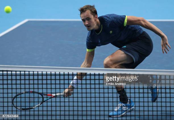 Daniil Medvedev of Russia plays a forehand in his match against Hyeon Chung of South Korea during the semi finals on day 4 of the Next Gen ATP Finals...