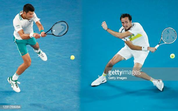 Daniil Medvedev of Russia plays a forehand in his Men's Singles Semifinals match against Stefanos Tsitsipas of Greece during day 12 of the 2021...