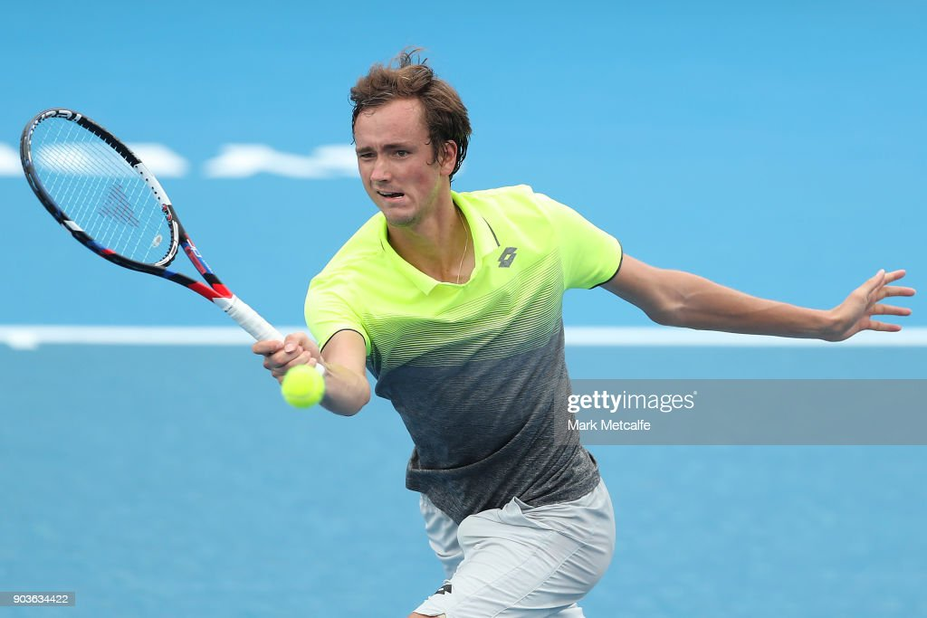 Daniil Medvedev of Russia plays a forehand in his quarter final match against Paolo Lorenzi of Italy during day five of the 2018 Sydney International at Sydney Olympic Park Tennis Centre on January 11, 2018 in Sydney, Australia.